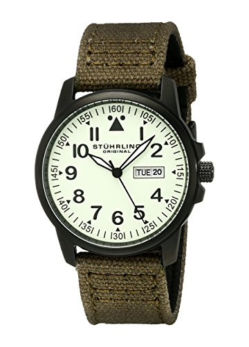 Stuhrling Original Men's 850.04 Aviator Day and Date Stainless Steel Watch With Green Canvas-and-Leather Strap