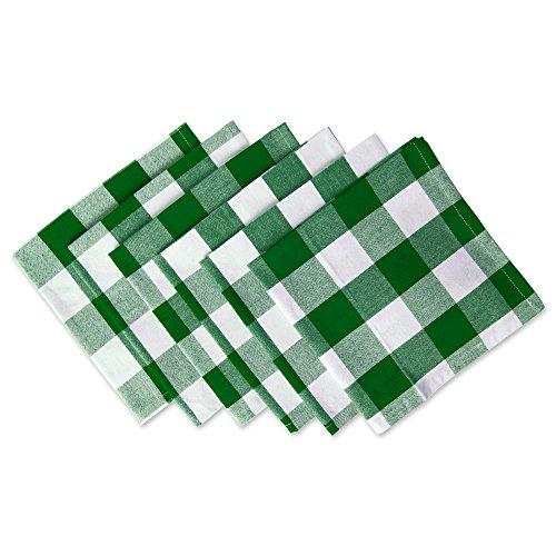 DII Cotton Buffalo Check Oversized Basic Cloth Napkin for Everyday Place Settings, Farmhouse Décor, Family Dinners, BBQs, and Holidays (20x20, Set of 6) Green & White