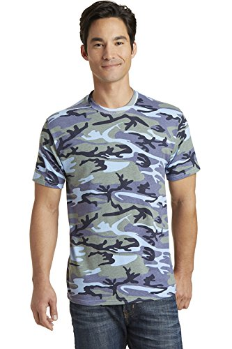 Port & Company 5.4-oz 100% Cotton Camo Tee. PC54C Woodland Blue Camo 3XL