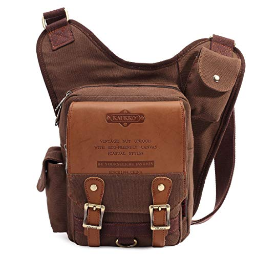 KAUKKO Retro Casual Shoulder Backpack Sports Canvas Handbag Crossbody Messenger Bag Chest Pack for Men (Coffee)