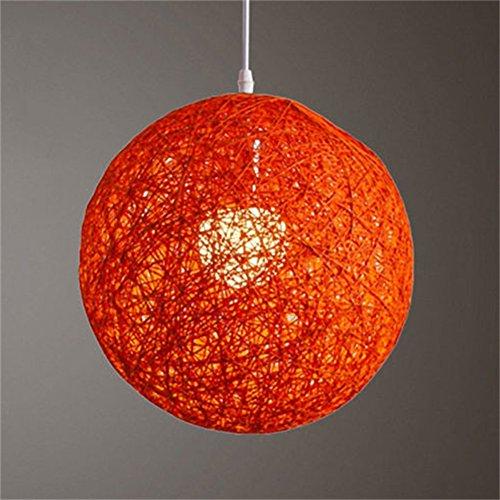 Zehui Round Concise Hand-Woven Rattan Vine Ball Pendant Lampshade Light Lamp Shades Light Accessories(15cm Diameter) Orange (Rattan Round Pendant Light)
