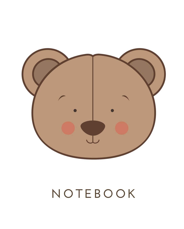Cute Teddy Bear Face Blank Lined Journal Composition Book Matte