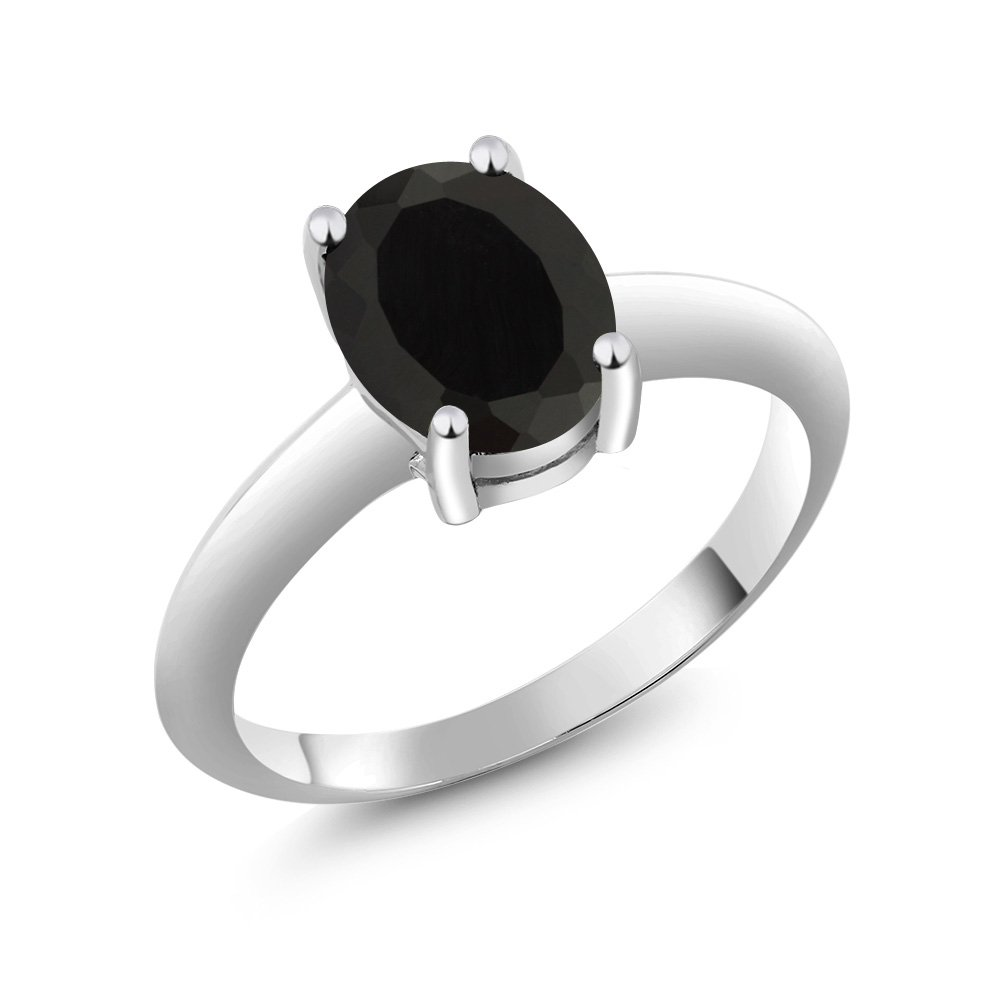 1.63 Ct Solitaire Black Onyx 925 Sterling Silver Engagement Ring