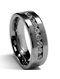 Metal Masters Co.® 8 MM Men's Titanium ring wedding band with 9 large Channel Set CZ sizes 6 to 15