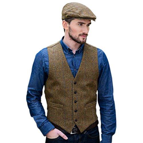 Mucros Weavers Tweed Vest For Men, Made In Ireland, 100% Irish Tweed, Brown, Medium - Irish Tweed Jackets