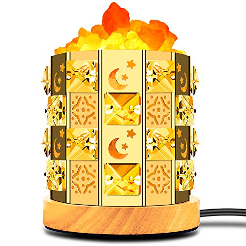 Decolighting Himalayan Salt Lamp, Natural Salt Lamp Salt Crystal Chunks in Acrylic Diamond Cylinder with Wood Base, Bulb and Dimmer Control for Christmas Gift and Home Decorations. [energy class a+++]