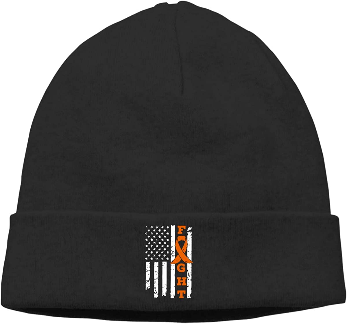 Leukemia Cancer Awareness American Flag Men /& Women Solid Color Beanie Hat Stretchy /& Soft Winter Cap Thin