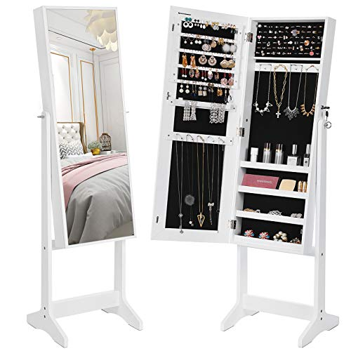 SONGMICS Mirrored Jewelry Cabinet Armoire, Standing Full Body Larger Mirror, Lockable Jewelry Organizer, White UJJC69WT (Table Top Jewelry Armoire)