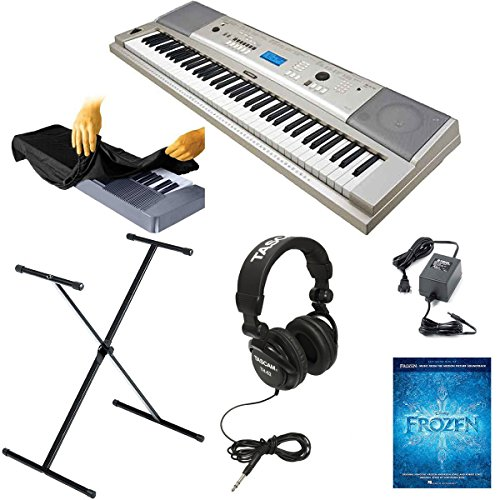 Yamaha YPG-235 76-key Portable USB Keyboard Kit with X-Style Stand, Power Adapter, Full Size Stereo Headphones, Frozen Music Book, and Keyboard Dust Cover