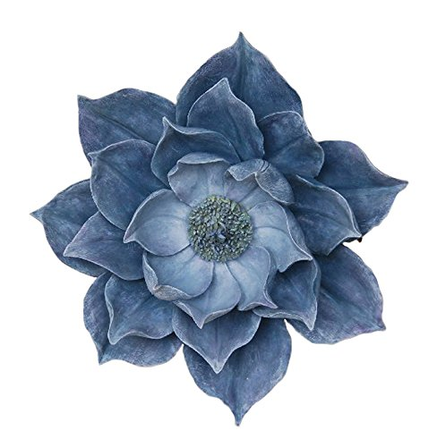 Exquisitely Styled Resin Lotus Wall Flower Decor, Blue lotus flower home decor