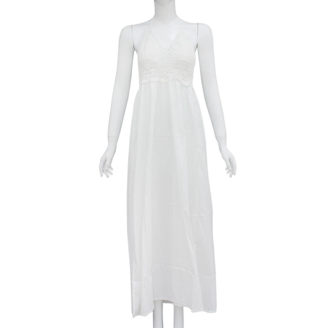 Rcool Frauen Ärmelloses Strand häkeln rückenfreies Kleid Neckholder Abend  Party Kleid  Amazon.de  Bekleidung d6eec0511b