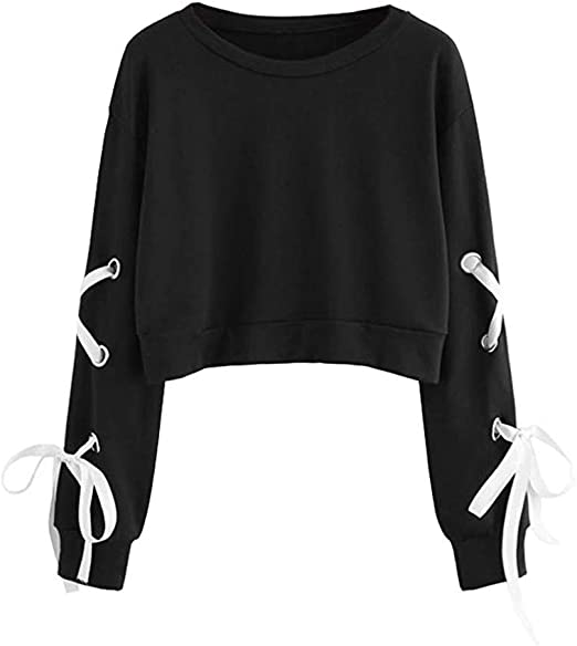 Chic Women Long Sleeve Hoodie Sweatshirt Jumper Hooded Pullover Crop Top Blouse
