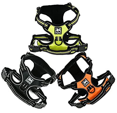 PoyPet No Pull Dog Harness Front 3M Reflective Pet Vest for Dogs with Easy Control Handle and Back Leash Attachment Perfect for Daily Training,Walking Running