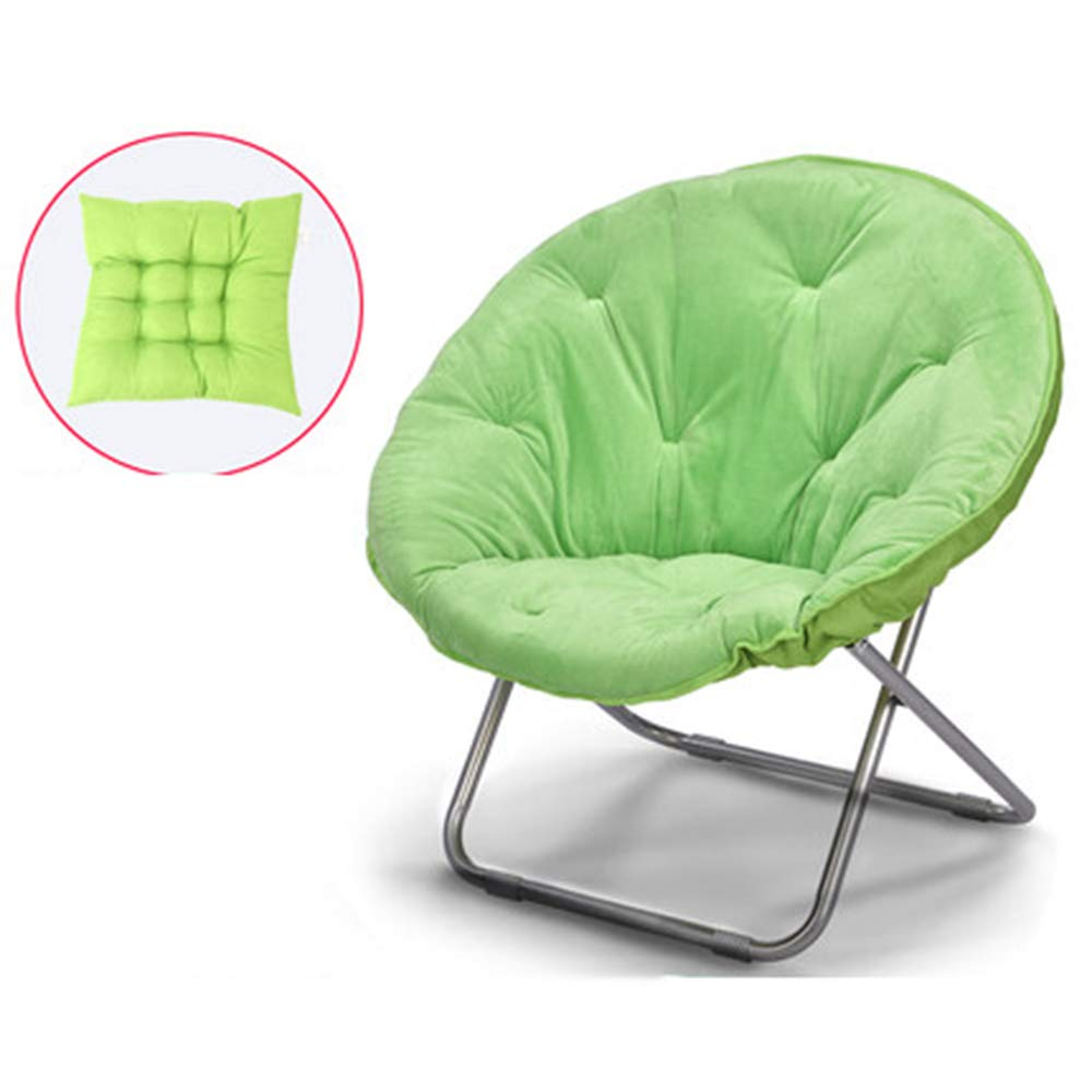 Green + cushion - not removable Large Lazy Chair Moon Chair Folding Recliner Dormitory Chair Lunch Break Lazy Couch Chair Sun Lounger Leisure