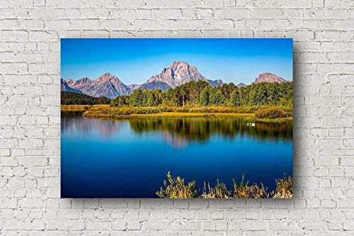 (Grand Teton Canvas Wall Art - Gallery Wrapped Canvas of Snake River and Mount Moran at Oxbow Bend Mountain Home Decor 8x10 to 30x40)