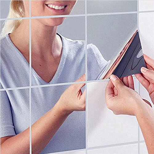 9pcs Square Mirror Tile Wall Stickers Removable Decal - 6