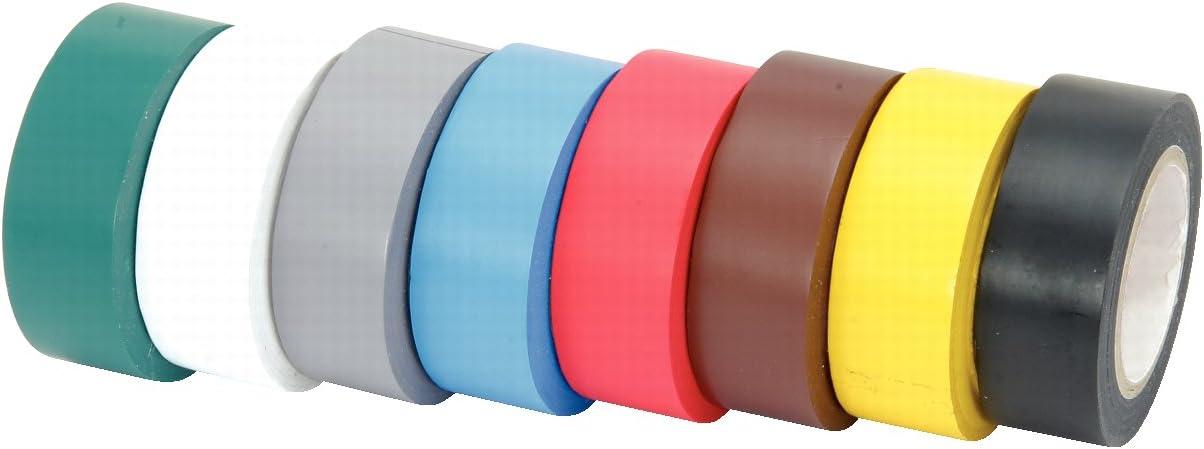 KS Tools 141.6010 - Cinta Aislante de PVC, Paquete de 8 unidades, clasificado por colores