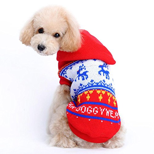 Mikey Store Christmas Pet Dog Red Deer Pet Sweater with Hood Warm Cute Sweater Clothes (Red, (Halloween Store Red Deer)