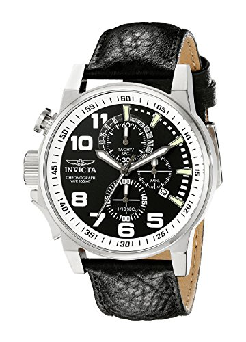 Invicta Men's 13053 Force Left-Handed Stainless Steel Watch With Black Leather Band