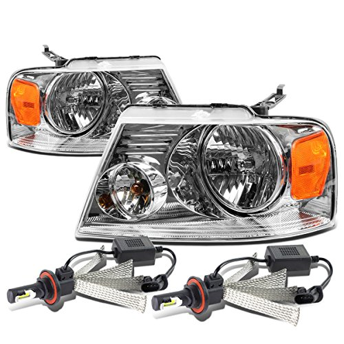 For Ford F-150 11th Gen Pair of Chrome Housing Amber Corner Headlight + H13 LED Conversion Kit