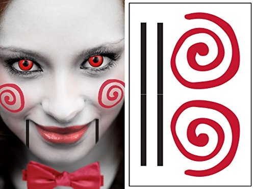 Saw Clown Style Kit Temporary Tattoos | Skin Safe | MADE IN THE USA| Removable -