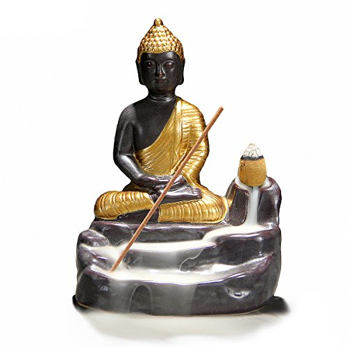 Novelty Incense Burner - OTOFY Shakyamuni Buddha Incense Holder Burner, Backflow Incense Burner Ceramics Sitting Buddha Figurine Incense Cones Holder Home Decor Aromatherapy Sculptures and Medieval Fantasy Gifts (Gold)