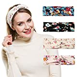 Women Headband Yoga Large Wide Bohomia Hair Bands Stretchy Fabric Headwrap 4 pack