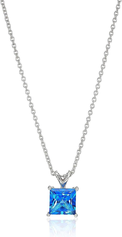 Plated Sterling Silver JADMIRE 3 carats Swarovski Zirconia Princess-Cut Solitaire Pendant Necklace 18