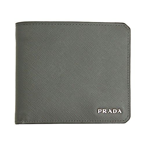 Prada Mens Grey Saffiano Corner Leather Bi-fold Wallet 2m0738 Mercurio