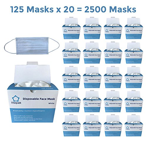 (Pack of 2500) Extra Soft Disposable Face Mask 3 Ply Earloop Medical Dental Surgical Hypoallergenic High Quality White by Litepak