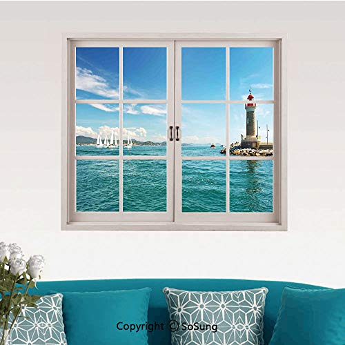 Lighthouse Removable Wall Sticker/Wall Mural,Day by The Seaside Sailboats Lighthouse Rocks Clear Sea Clouds Island Seascape Decorative Creative Close Window View Wall Decor,24
