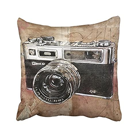 Emvency Decorative Throw Pillowcase Square 18x18 Inches Vintage Watercolor Camera Painting Brown Retro Cotton Pillow Cover With Hidden Zipper Decor - Round Sterling Silver Wire Basket