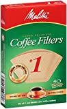 Melitta Cone Coffee Filters, Natural Brown, No. 1, 40 Count