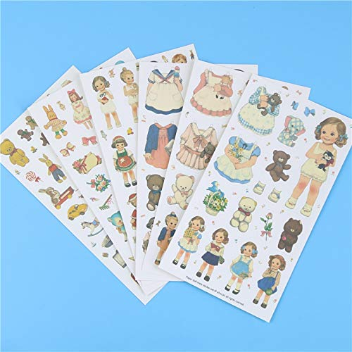 DP-iot 6 Pcs/lot, Cute Stickers Paper Girl Combination Paper Doll Mate Memo Pads