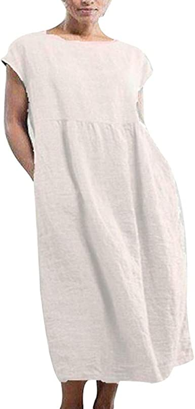 Guajave Vestido de mujer, color sólido, algodón, lino, sin mangas, largo casual: Amazon.es: Ropa y accesorios