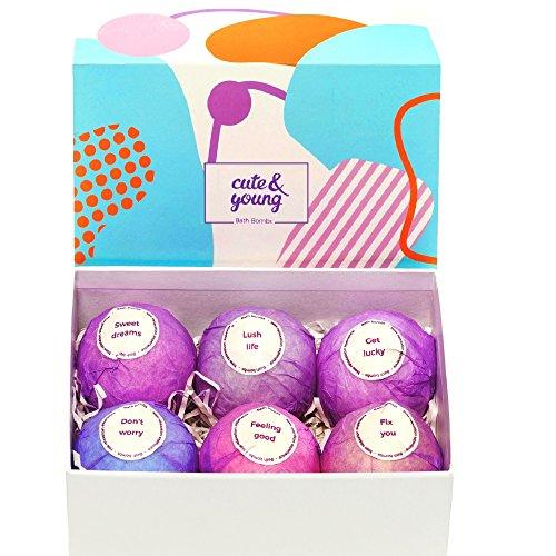 Bath Bombs Gift Set - 6 Vegan, Handmade, All Natural and Organic - Best Gift for Her: Women, Mom, Girls, Teens - Ultra Lush Spa Fizzes - Add to Bath Bubbles - Bath Basket (Homemade Gift Baskets For Men)