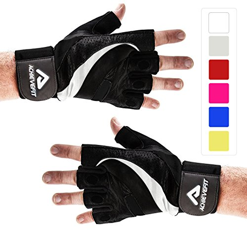 ACHIEVE FIT Weightlifting Gloves - Firm Grip, Control & Comfort for Weight lifting, Crossfit Training, Gym Workout - Standard or With Wrist Wraps (PAIR) (XL, Wrist Wraps - Black - Canada Boxing Day Best Buy