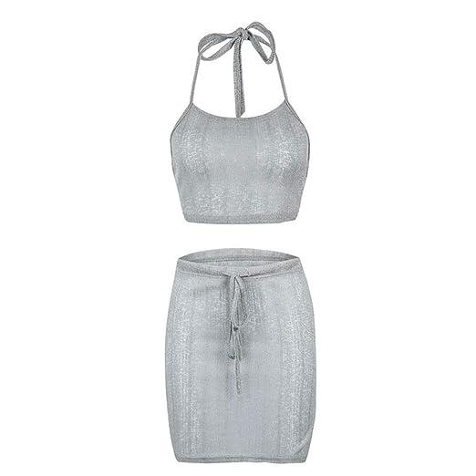 wqeew - Falda para Mujer de un Solo Color, Espalda Descubierta con ...