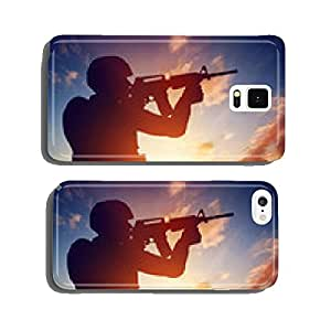 Soldier shooting with his rifle at sunset. War, army, military. cell phone cover case Samsung S6