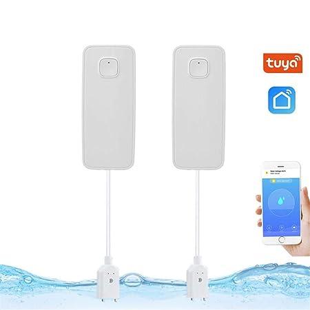 FORYOURS Detector Inteligente De Agua con Wi-Fi, Sensor De Fugas E Inundaciones Sensoriales De Agua, Alarma Y Notificación De Alerta, Concentrador Sin ...