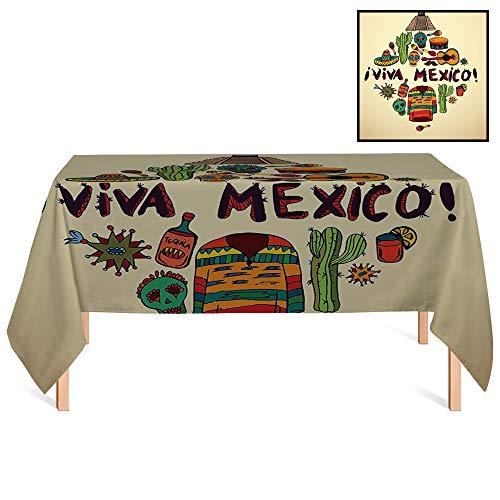 (SATVSHOP Tablecloth /24x24 Square,Mexican rations Mexican Symbols Viva Mexico Ornate Historic Heritage Civilization Drumsticks Image Ivory Orange.for Wedding/Banquet/Restaurant.)