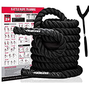 Well-Being-Matters 5166PgOWKuL._SS300_ Battle Rope with Foldable Poster and Anchor KIT. Full Body Workout Equipment for Crossfit Training, Home Gym or Fitness…
