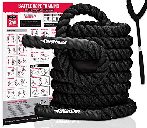 BATTLE ROPES with Foldable Poster and Anchor KIT. Full Body Workout Equipment for Crossfit Training, Home Gym & Fitness Exercises. PolyDac Battling for Strength (Black, 2 inch Diameter x 40 ft Length)