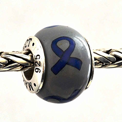 Royal Blue Awareness Ribbon Colon Cancer, Huntington's Disease Bead Charm for Add-A-Bead Bracelets Clay & Sterling Silver by MAYselect