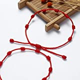 beemean 7 Knots Red Bracelet Good Luck Protection