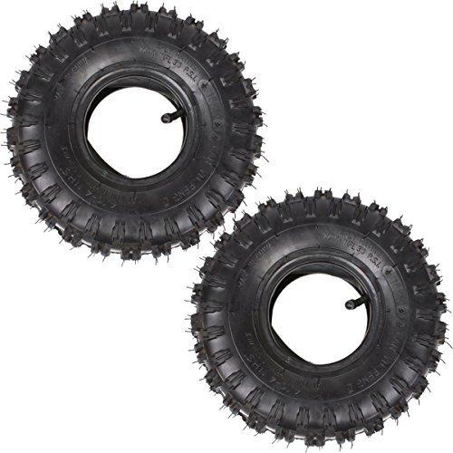 Wingsmoto 4.10-4 410-4 4.10/3.50-4 Tyre Tire + Inner Tube for Garden Rototiller Snow Blower Go Cart Kid ATV Pack of 2 Sets ()