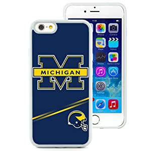 Popular And Durable Designed Case With Ncaa Big Ten Conference Football Michigan Wolverines 6 Protective Cell Phone Hardshell Cover Case For iPhone 6 4.7 Inch TPU Phone Case White