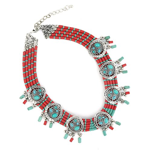 Jianxi Colorful Geometric Statement Compressed Turquoise and coral Ethnic Handmade Necklaces Women Fashion Jewelry …