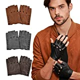 GSG Punk Studs Driving Cycling Leather Gloves Motorcycle Fingerless Gloves Mens Half Finger Hip Hop Gloves Black 9.5