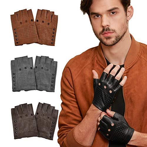 GSG Punk Studs Driving Cycling Leather Gloves Motorcycle Fingerless Gloves Mens Half Finger Hip Hop Gloves Black 9.5